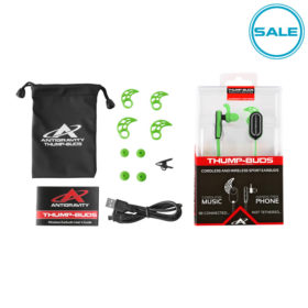 Green THUMP-BUDS Kit: Earbuds, Cushions, Manual, Cable