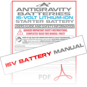 Antigravity Lithium 16-Volt Battery Instruction Manual