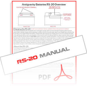 Antigravity RS-20 Lithium Car Battery Instruction Manual