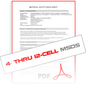 MSDS 4-cell through 12-cell Antigravity Batteries