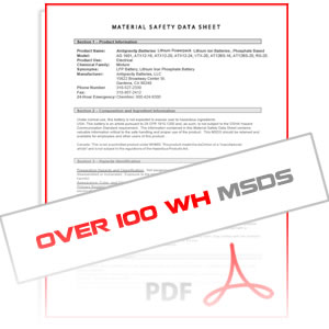 MSDS Over 100 Wh Antigravity Batteries