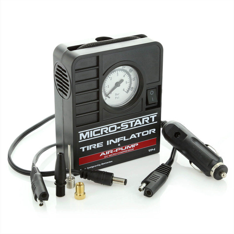 Compact /& Portable 12V Micro Start Tire Inflator /& Air Pump w// Detachable Cable
