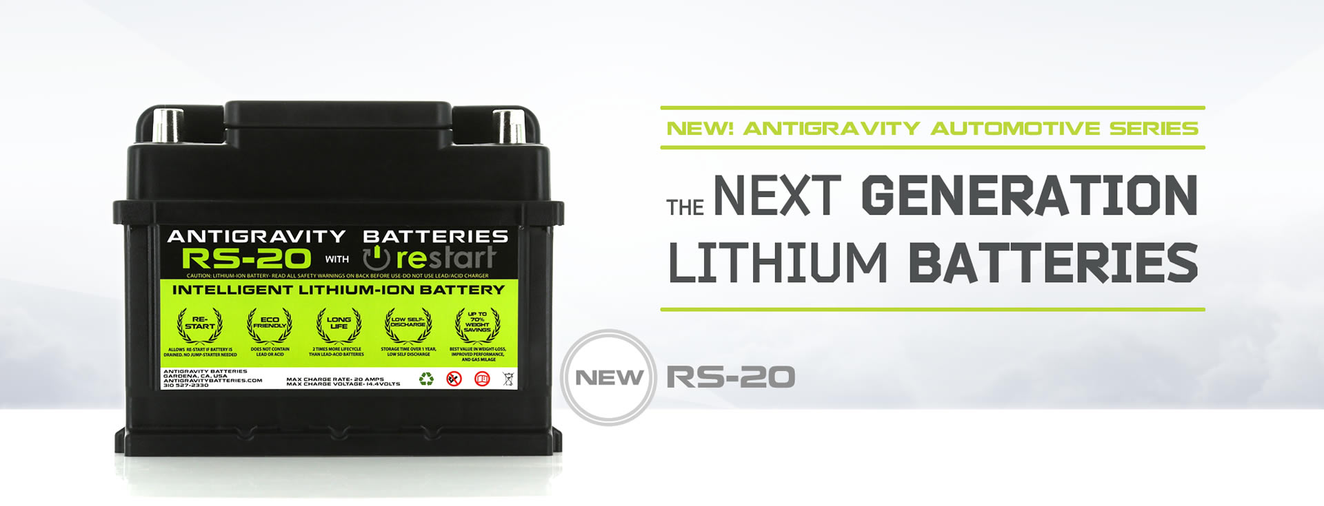 NEW! ANTIGRAVITY RS-20 LITHIUM CAR BATTERY
