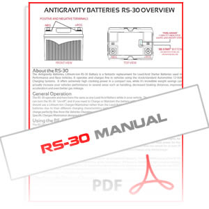 Antigravity RS-30 Lithium Car Battery Instructions Manual