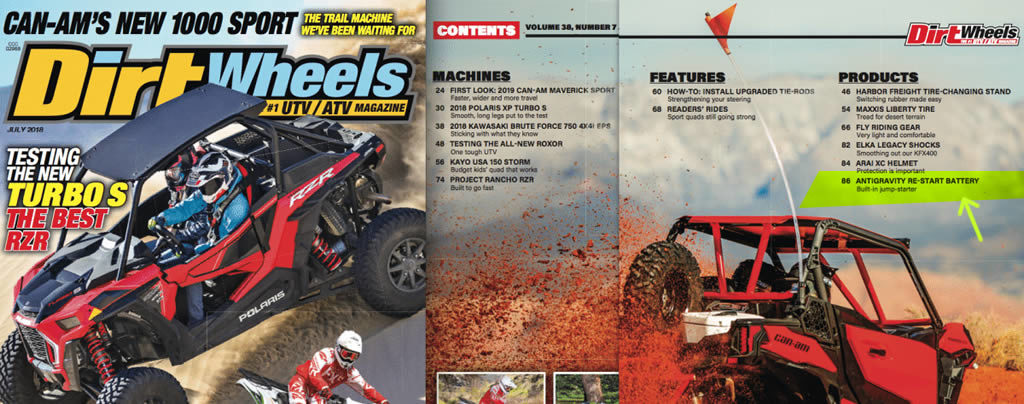 Dirt Wheels Feature on Antigravity Re-Start Battery, July 2018