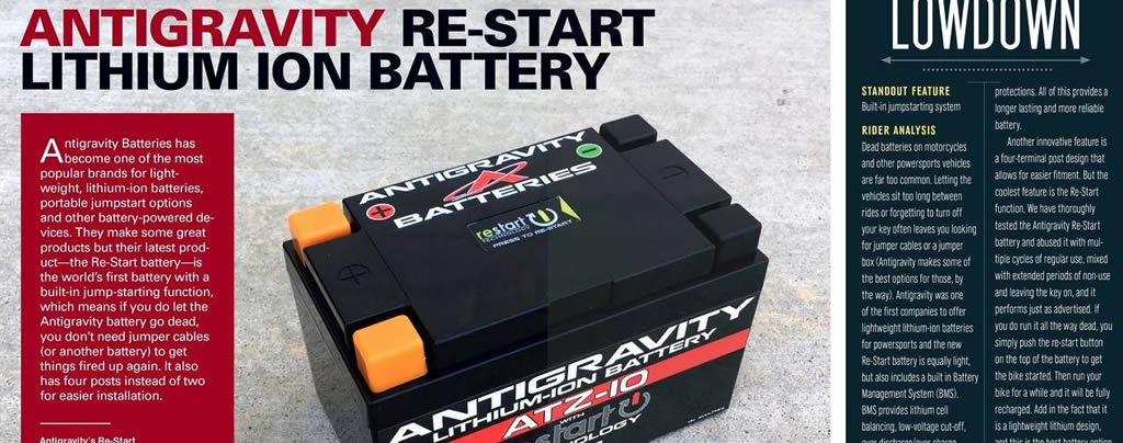 CycleNews Magazine Antigravity Re-Start Battery Review Oct 2018