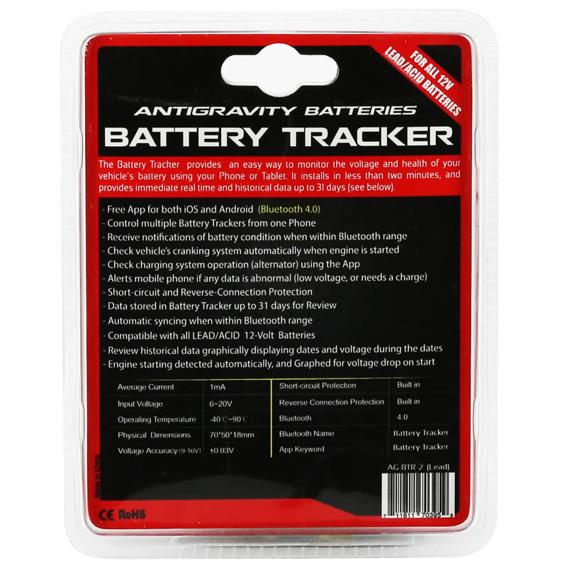 Lead/Acid Battery Tracker, Bluetooth Monitoring System