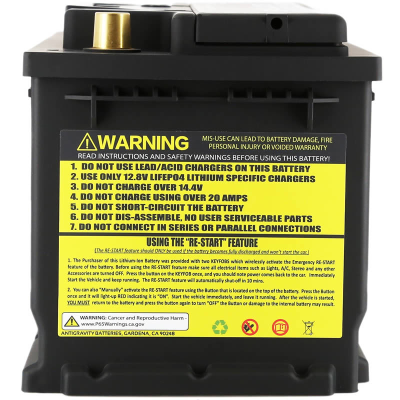 Antigravity AG-T6-RS Lightweight Car Battery, side view